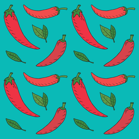 Chili seamless pattern. Summer beautiful illustration of chili pepper  イラスト・ベクター素材