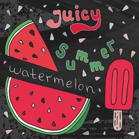Sweet juicy Watermelon and ice ream. Summer exotic food. Beautiful hand drawn illustration of fruits and ice cream on chalkboard background