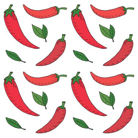 Chili seamless pattern. Summer beautiful illustration of chili pepper Reklamní fotografie - 115888145