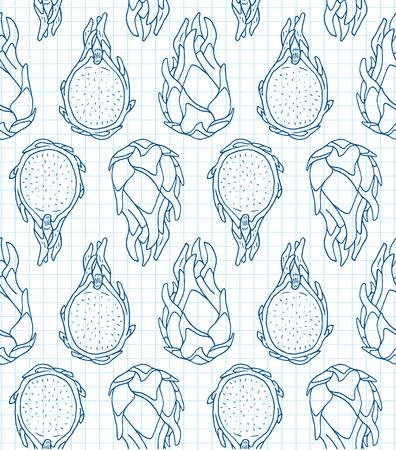 Pattern of sweet juicy dragon fruit seamless pattern. Summer exotic food. Beautiful hand drawn illustration of fruits