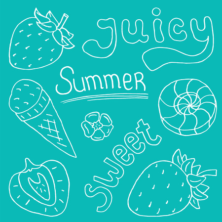 Juicy sweet summer illustration of strawberries, ice cream con and sweets
