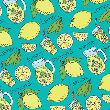 summer fresh lemonade pattern with juicy lemons Reklamní fotografie - 115888150