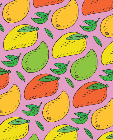 Pattern of sweet juicy mango. Summer exotic food. Beautiful hand drawn illustration of fruits  イラスト・ベクター素材