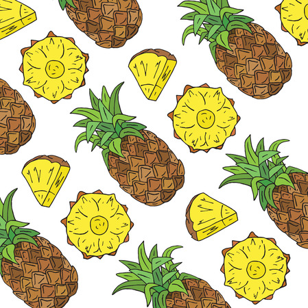 Pattern of sweet juicy pineapple. Summer exotic food. Beautiful hand drawn illustration of fruits Reklamní fotografie - 115888156