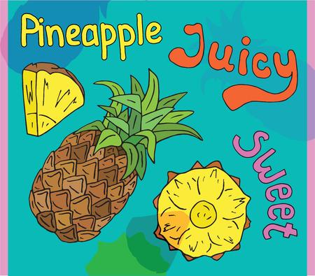 Sweet juicy Pineapple. Summer exotic food. Beautiful hand drawn illustration of fruits