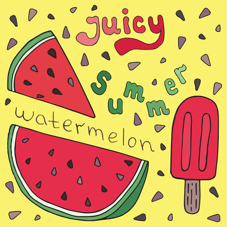 Sweet juicy Watermelon and ice ream. Summer exotic food. Beautiful hand drawn illustration of fruits and ice cream