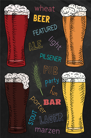 Beer featured. Beautiful illustration of stout, ale, light and lager beer on the chalkboard background
