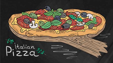 Beautiful illustration of Italian Pizza on the Cutting Board. Chalk and Chalkboard