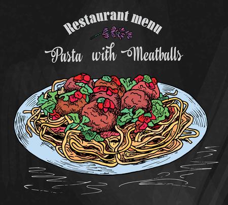 schöne handzeichnungsnudeln mit fleischbällchen mit tomatensauce. Restaurantmenü auf dem Tafelhintergrund Vektorgrafik