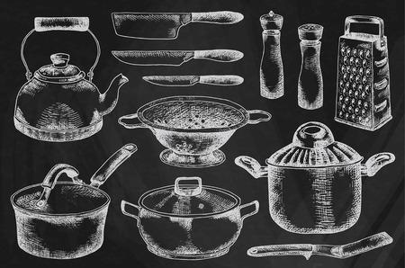 Kitchenware set. Beautiful tableware and kitchen utensils illustration on the chalkboard background  イラスト・ベクター素材