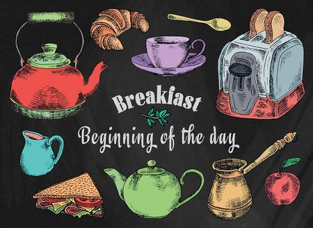 Chalk drawing breakfast illustration. Toaster, bread, toast, apple, fruit, coffee pot, kettle, sandwich, snacks, milk pot, mug, cup, croissant, kettle, spoon, dessert on the chalkboard background Reklamní fotografie - 118836182