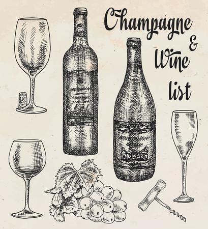 Hand drawing illustration, red wine, champagne, grapes. Provence, summer time Reklamní fotografie - 117686348