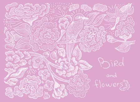 pattern bird and flowers  イラスト・ベクター素材