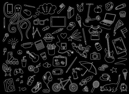 A vector children and teen school comic pattern doodles of electronic gadgets, computer, laptop, monitor
