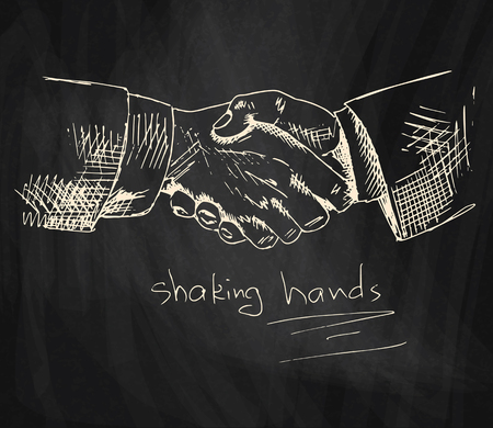 business shaking hands chalk illustration on blackboard background