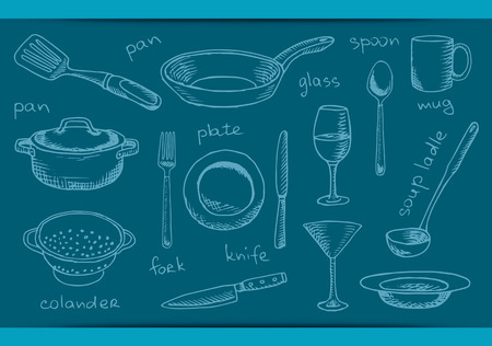 set of dishes utensil. Hand drawing tableware