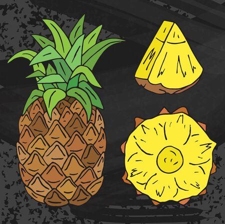 Sweet Pineapple juice. Summer exotic food. Beautiful hand drawn illustration of fruits on chalkboard background Иллюстрация