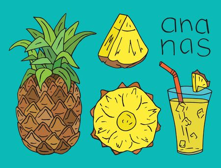 Sweet Pineapple juice. Summer exotic food. Beautiful hand drawn illustration of fruits Иллюстрация