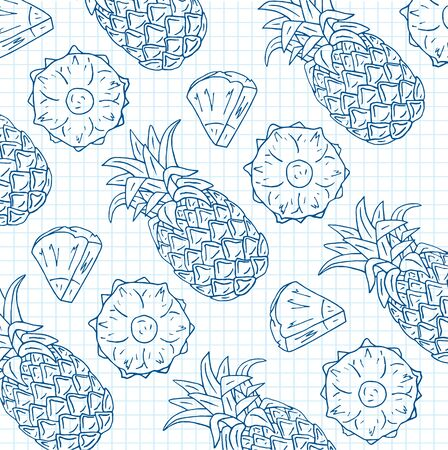 Pattern of sweet juicy pineapple. Summer exotic food. Beautiful hand drawn illustration of fruits