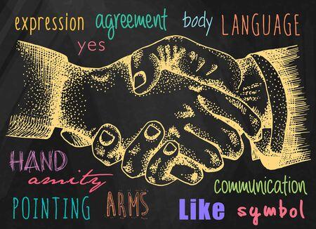 handshake on chalkboard background