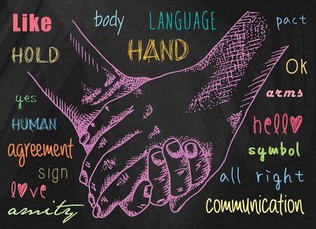 Hands illustrations. Signs hands. Business shaking. Fist agreement. Hands held together. Friendship. Ilustração
