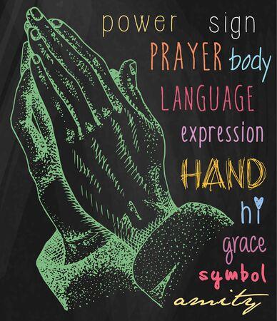 Hands illustrations. Signs hands. Folded in prayer.