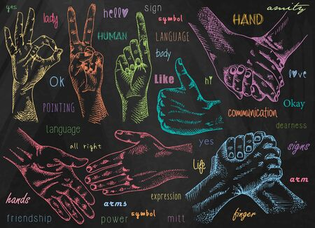 Signs hands. One hand making thumb up gesture. Hand is showing Like. Hands held together. Fist agreement. Shaking hands. Friendship on chalkboard background