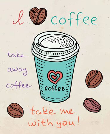 Beautiful illustration poster take away coffee cup