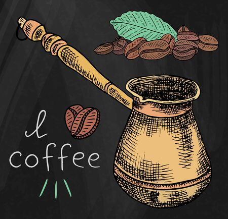 Beautiful illustration of the coffee pot with beans on chalkboard background