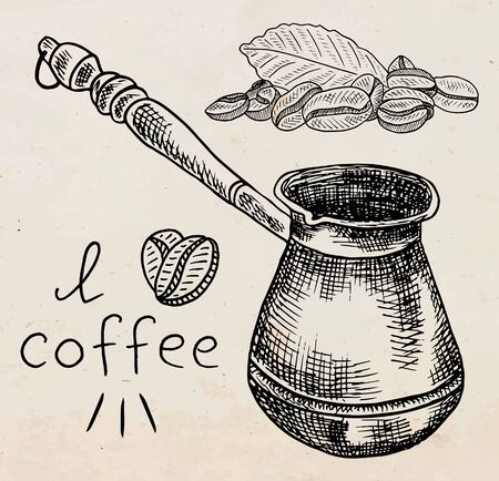 Beautiful illustration of the coffee pot with beans