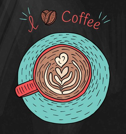 I love coffee. Beautiful illustration of cup of cappuccino coffee and beans Vectores