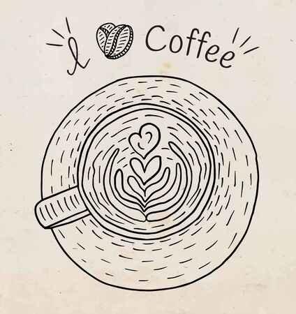 I love coffee. Beautiful illustration of cup of cappuccino coffee and beans Foto de archivo - 131184907