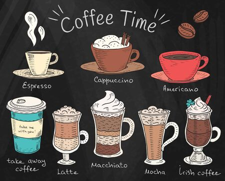Coffee time. Beautiful illustration of types of coffee. Espresso, cappuccino, americano, takeaway, latte, mocha, irish coffee on chalkboard background