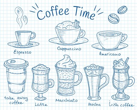 Coffee time. Beautiful illustration of types of coffee. Espresso, cappuccino, americano, takeaway, latte, mocha, irish coffee