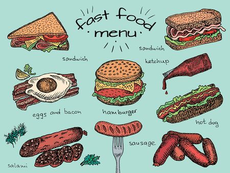 fast food menu, hamburger, snack, bread, burger, sandwich, chicken, poster, breakfast,  eggs, sausage, bacon, salami, ketchup, omelet Vectores
