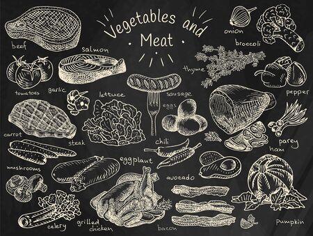 Vlees, groenten, rundvlees, kool, knoflook, sla, zalm, radijs, wortel, selderij, kip, spek, avocado, aubergine, komkommer, worst, maïs, ui, broccoli, paprika, chili, aardappel, tomaat