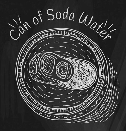 Can of soda water on the chalkboard background
