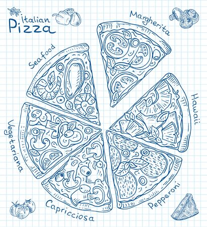 Beautiful illustration of Italian Pizza. Six slices of Margarita, Hawaii, Pepperoni, Vegetarian and Seafood pizza