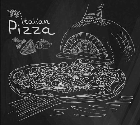 Schöne Illustration der italienischen Pizza auf dem Schneidebrett im Ofen auf dem Tafelhintergrund