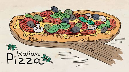 Beautiful illustration of Italian Pizza on the Cutting Board.