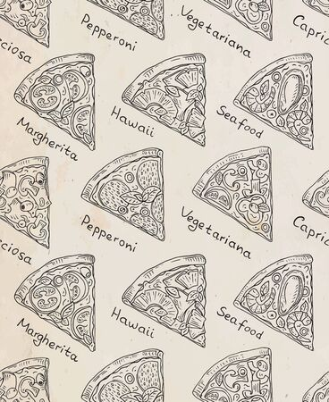 Beautiful pattern of Italian Pizza. Six slices of Margarita, Hawaii, Pepperoni, Vegetarian and Seafood pizza Vectores