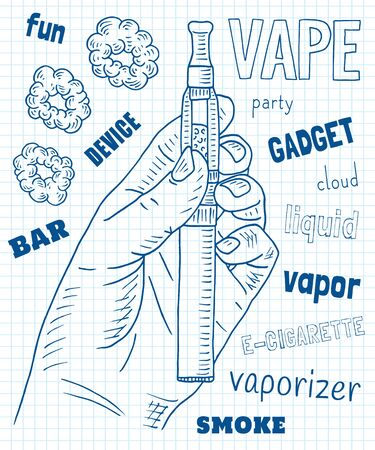 Vaporizer pen. Beautiful poster of Vaporizer shop. Vectores