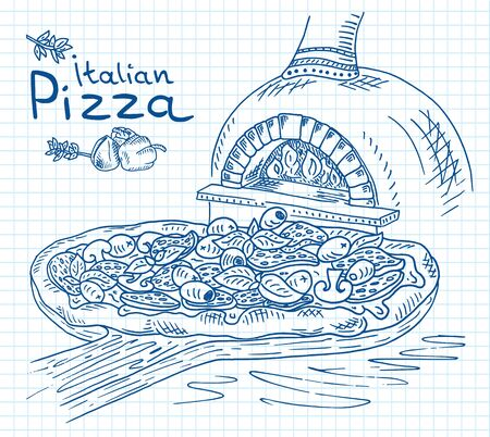 Beautiful illustration of Italian Pizza on the Cutting Board in the oven Vectores