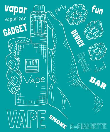 Vaporizer shop. Beautiful poster of Vaporizer Foto de archivo - 131185024