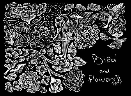 pattern bird and flowers Vectores