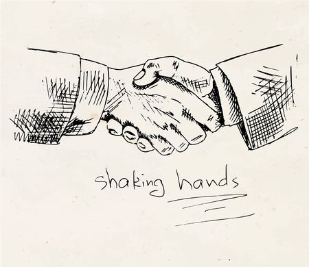 handshake vector on vintage background