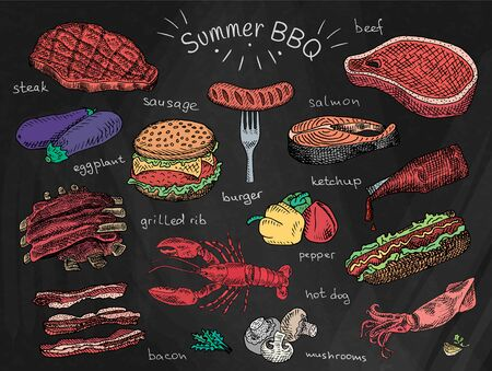 beautiful illustration summer bbq food, ribs, sausage, beef, steak, eggplant, burger, bacon, vegetables, herbs, mushroom, hot dog, lobster, calamari, squid, ketchup, salmon, pepper
