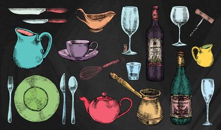 Kitchenware set. Beautiful tableware and kitchen utensils illustration Stok Fotoğraf - 131185256
