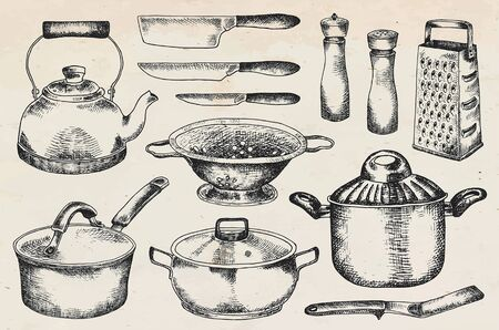 Kitchenware set. Beautiful tableware and kitchen utensils illustration Vectores