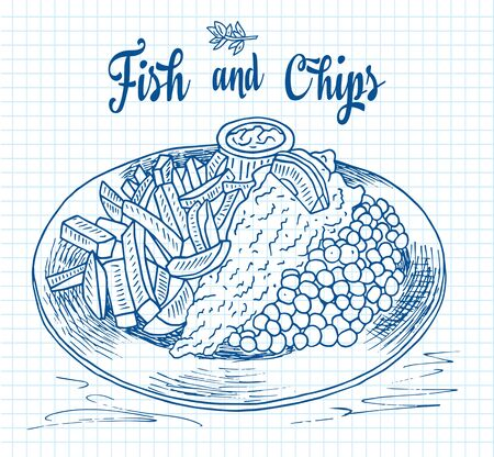 traditional english dish fish and chips. Restaurant menu. Standard-Bild - 131185273